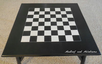 coffee table redo, paint table top, checkerboard table