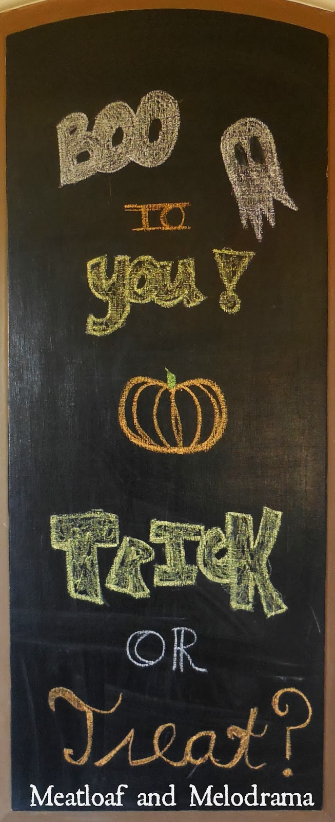 pantry door painted with chalkboard paint halloween
