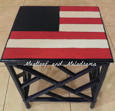 painting table top, flag art