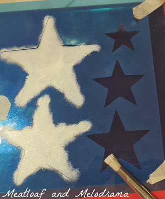 table painting, stencil stars