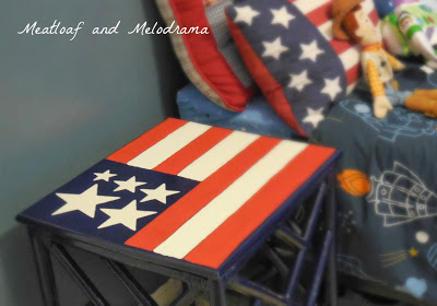 painted American flag on thrift store table