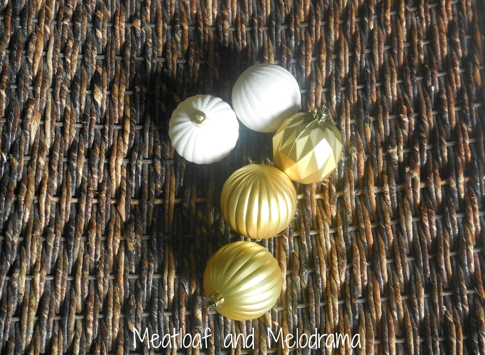 white and gold dollar store ornaments