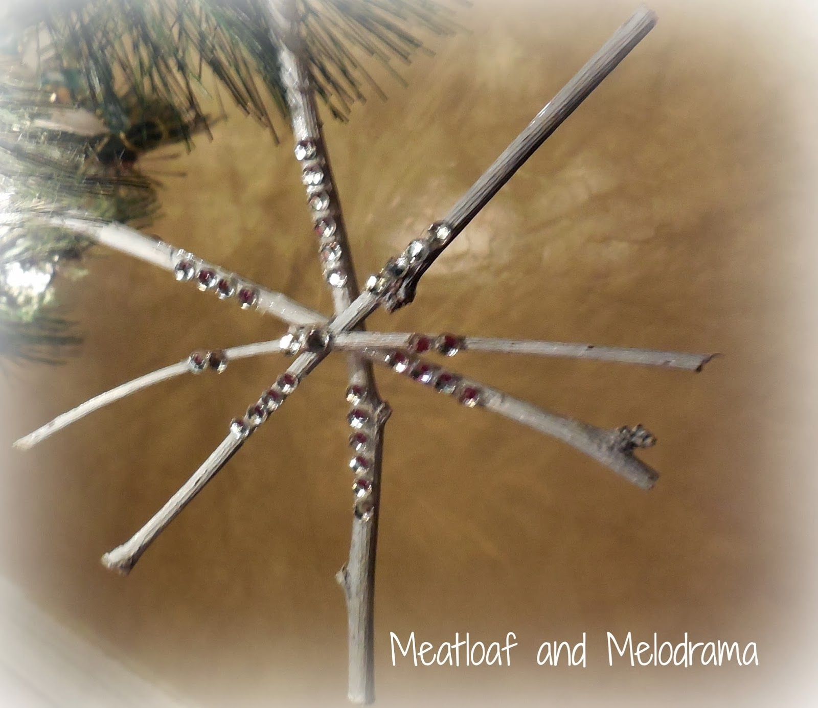 Rustic twig snowflake Christmas tree ornament