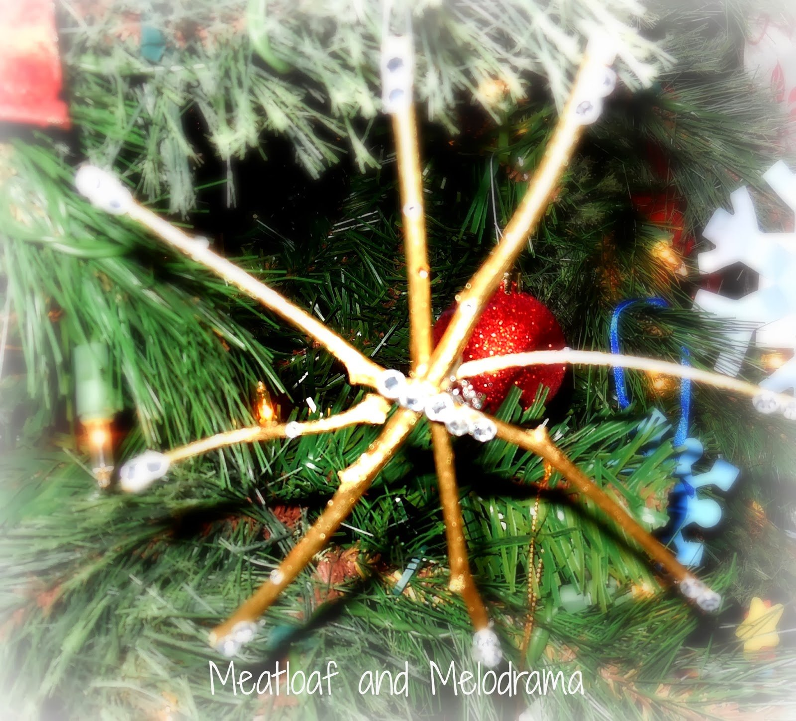 rustic gold twig snowflake star Christmas tree ornament
