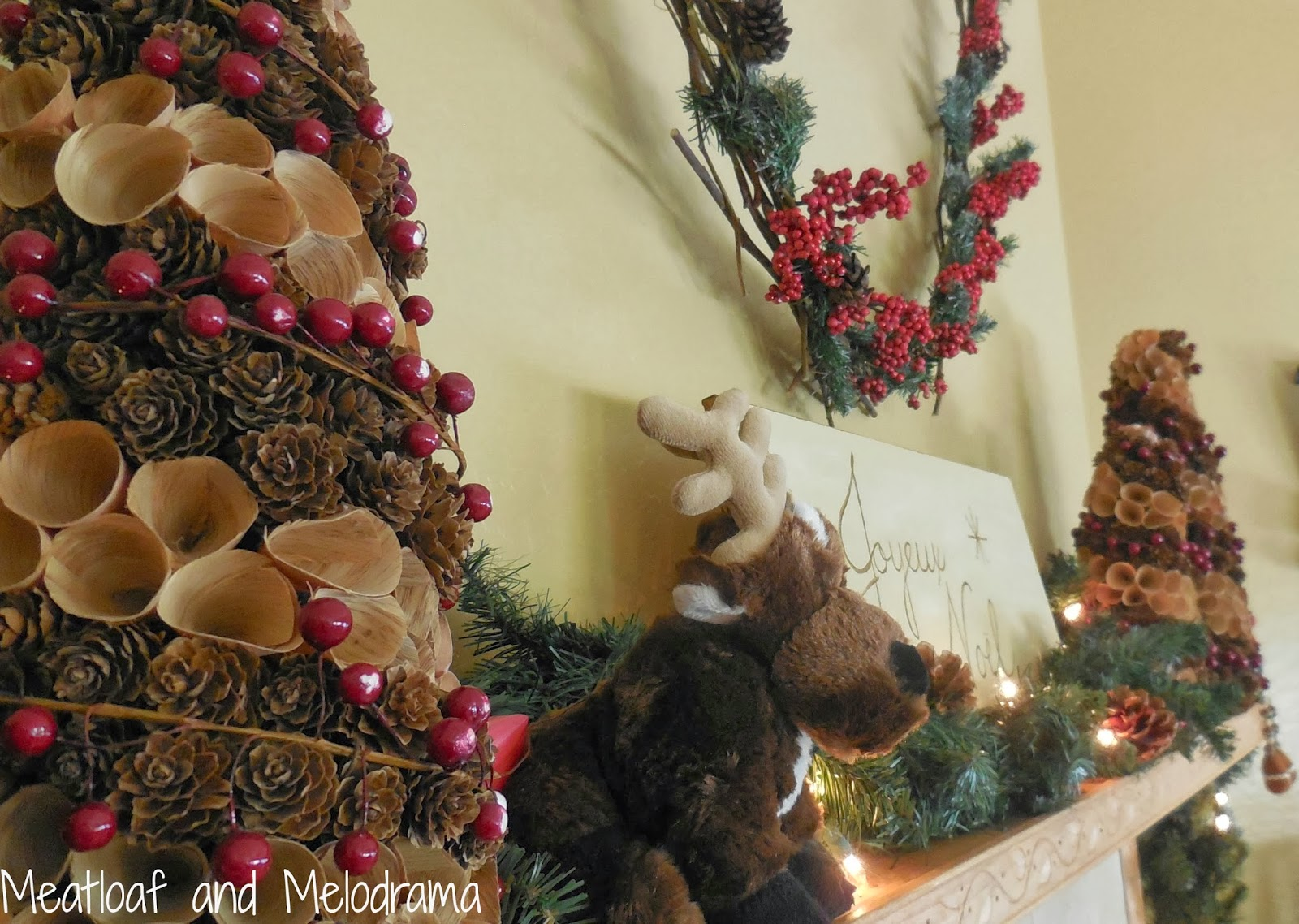 pinecone trees, deer on fireplace, rustic Christmas mantel decorations