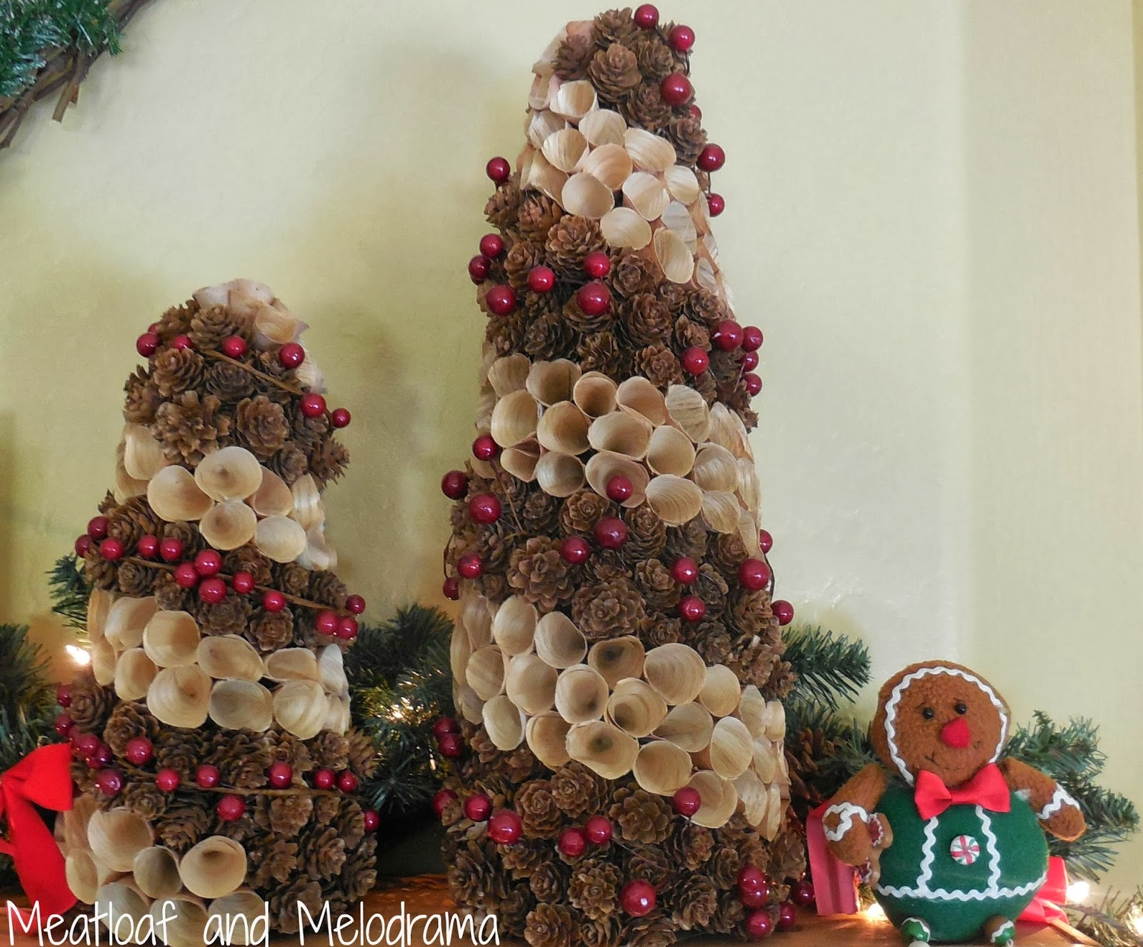 pinecone trees gingerbread man fireplace mantel rustic