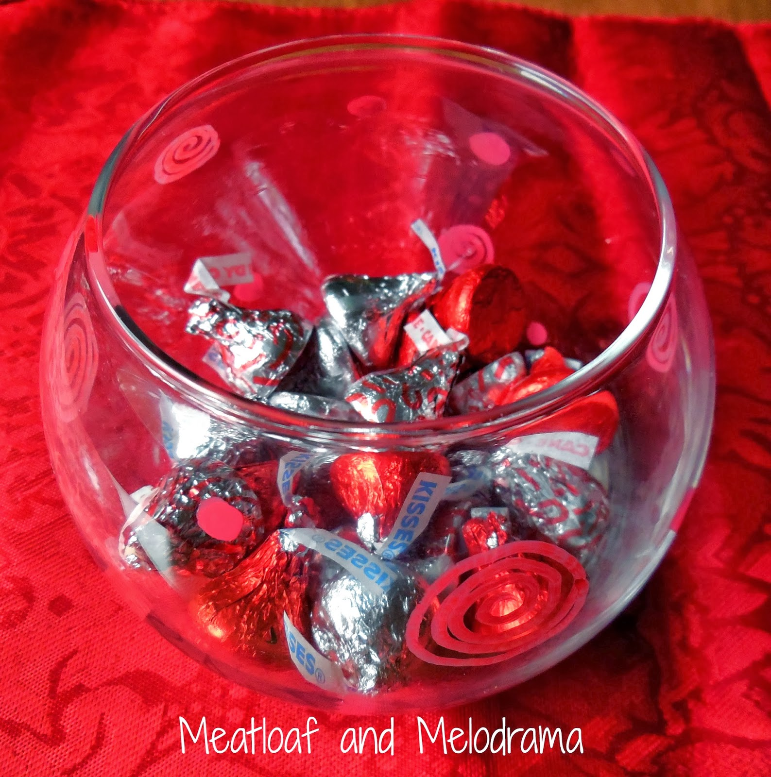 painted dollar store glass vase bowl red and white candy kisses