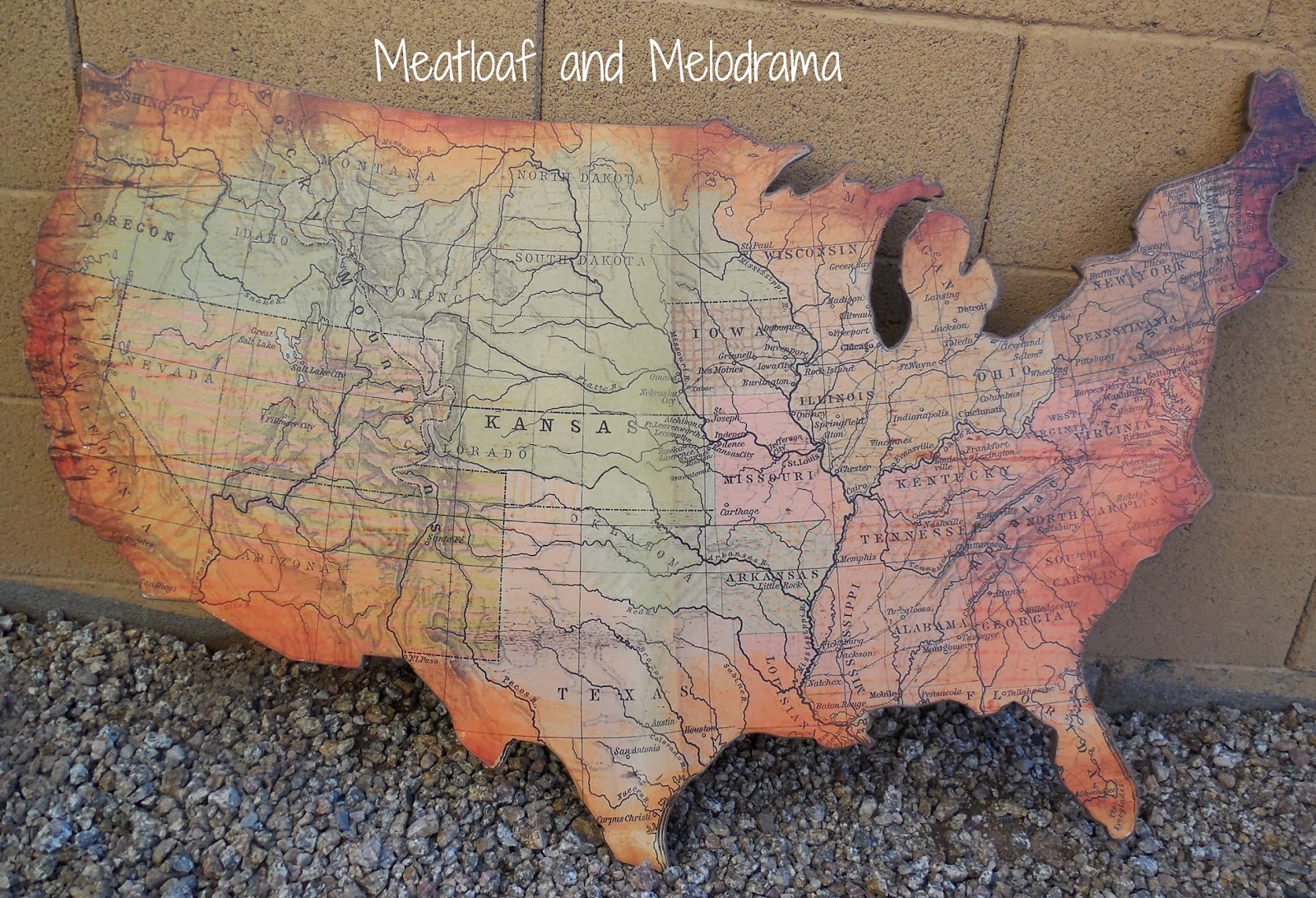 rustic usa wall map. rustic wooden wall art  meatloaf and melodrama