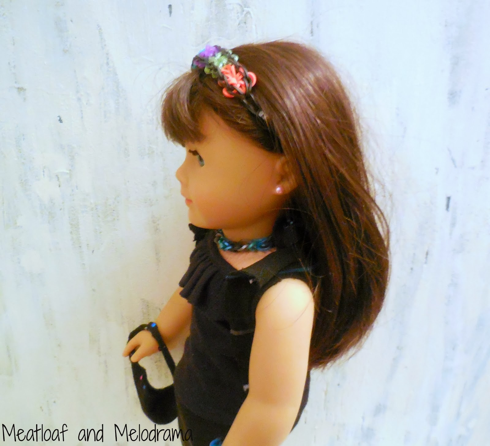 rainbow loom headband and necklace for American Girl Doll
