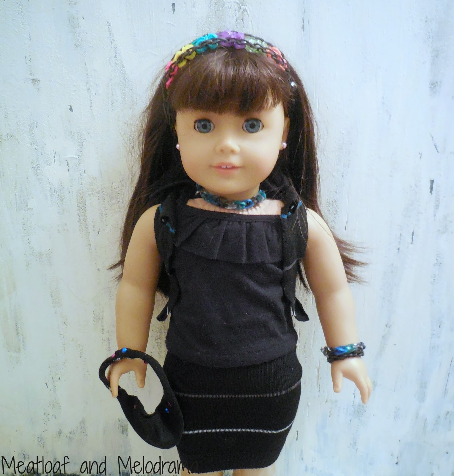 no sew American Girl Doll outfit from sock and rainbow loom bands