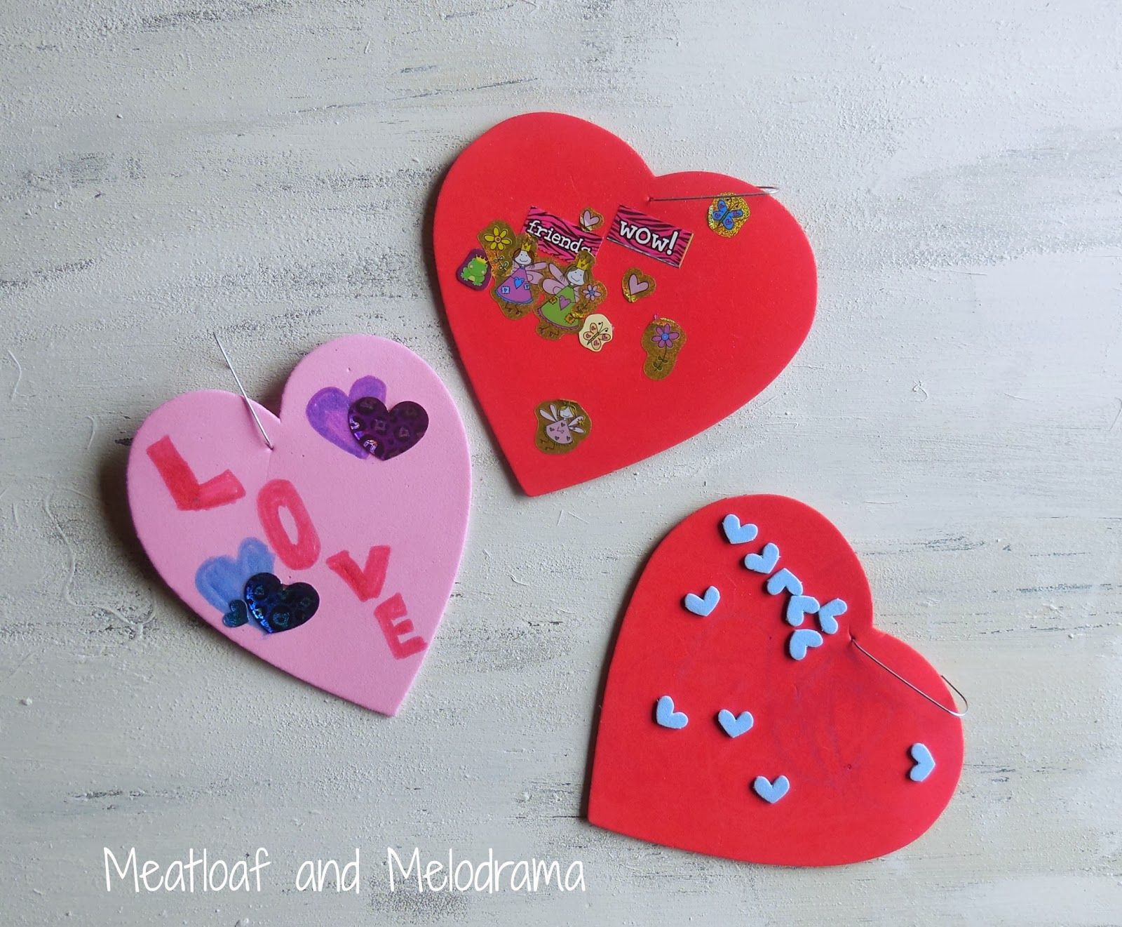 Easy decorated foam hearts