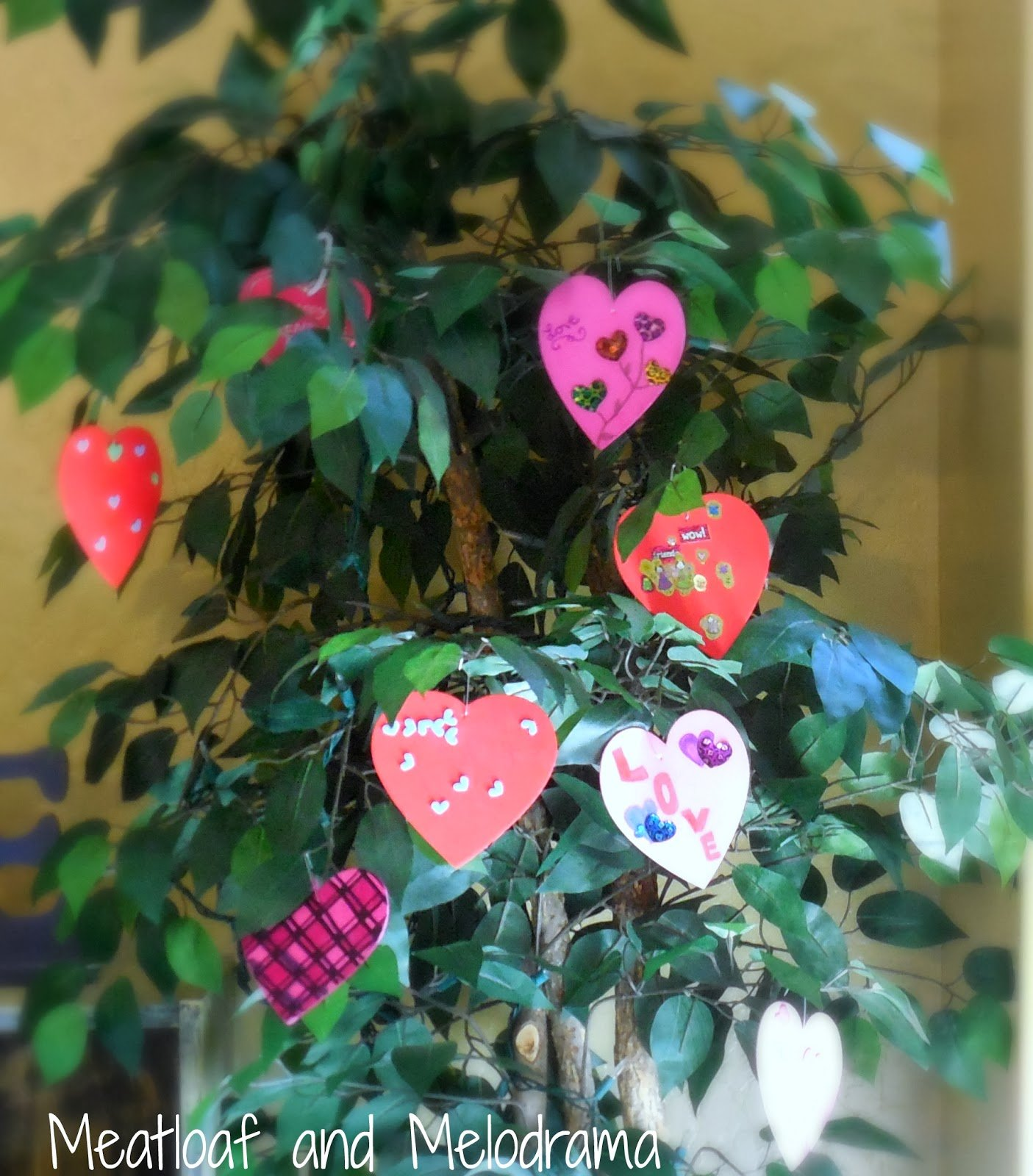 Valentine's Day tree with foam hearts