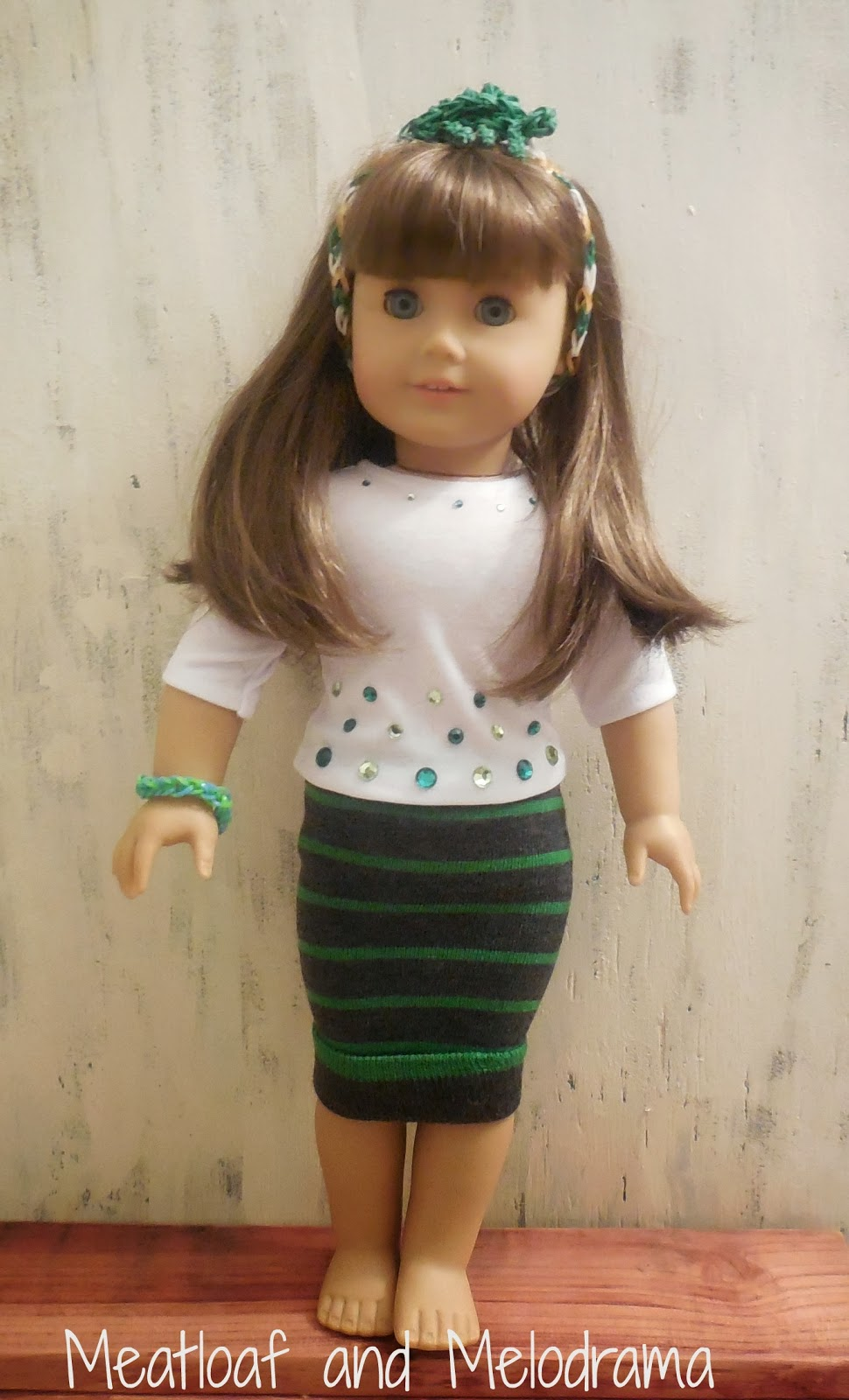 1983f387f3c7 No-Sew American Girl Doll St. Patrick s Day Outfit - Meatloaf and ...