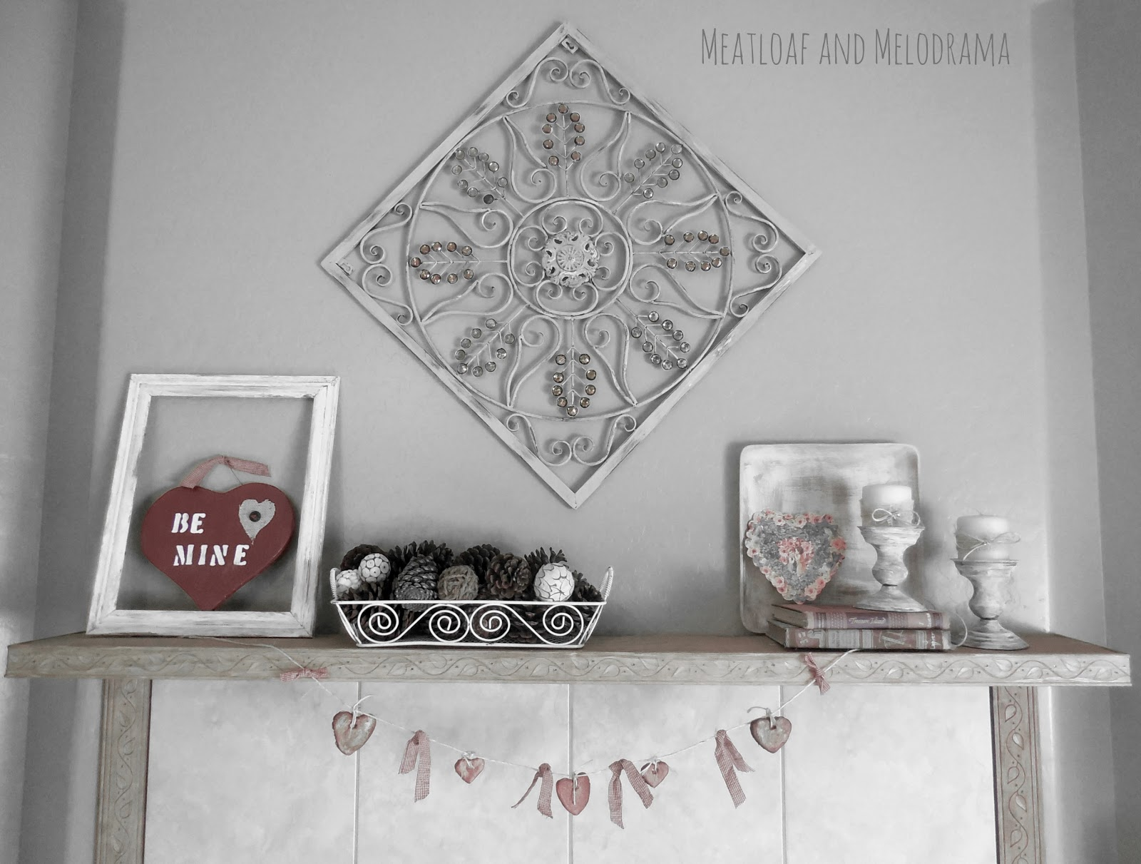 rustic vintage Valentine's Day Mantel