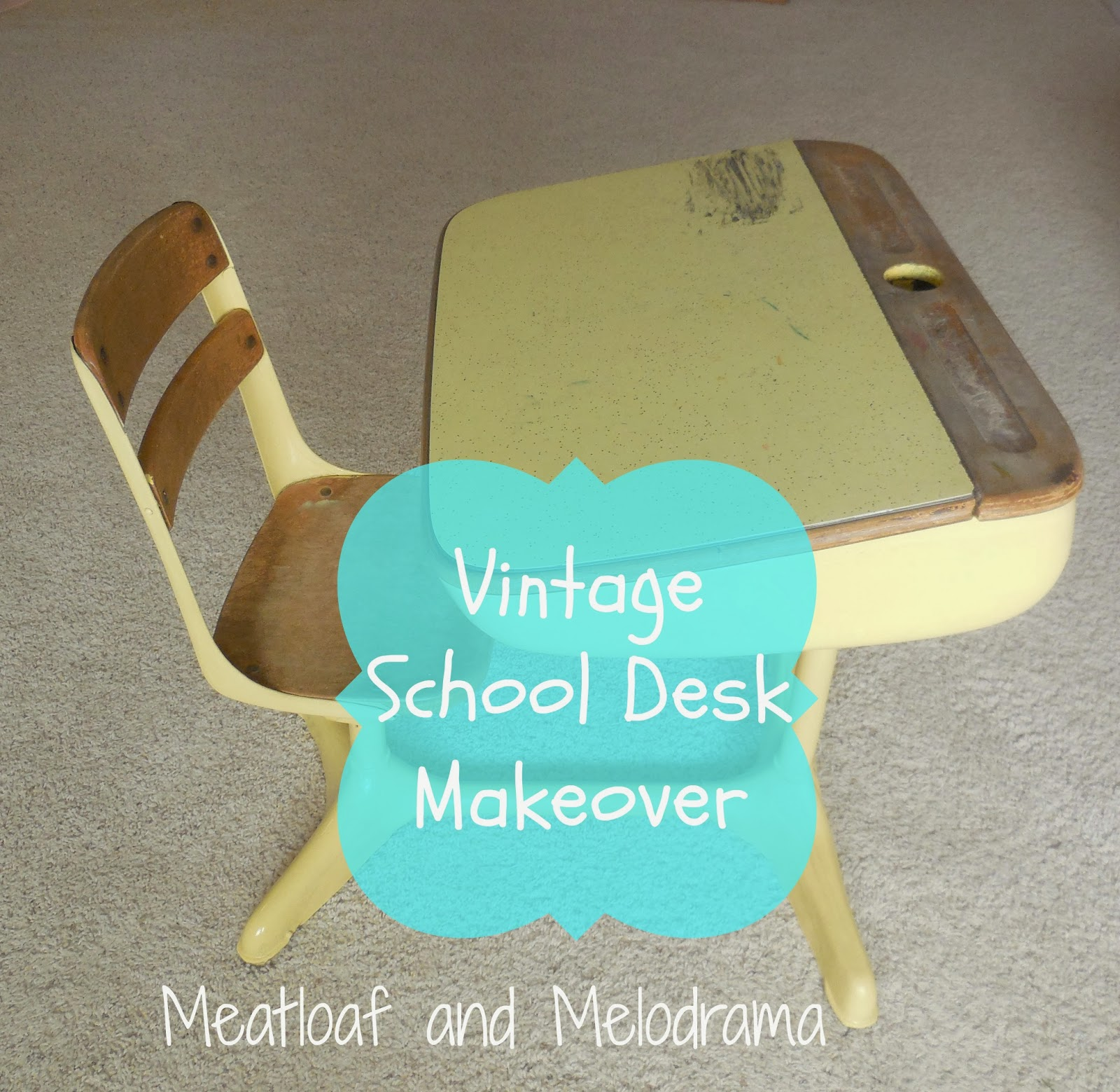Vintage Desk Redo With Spray Paint Chalk Chalkboard