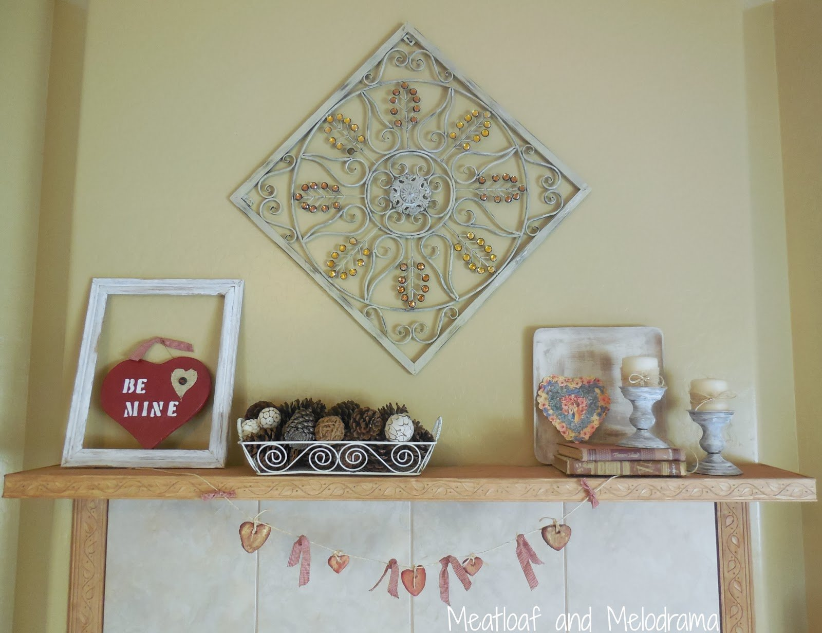 rustic Valentine's Day mantel