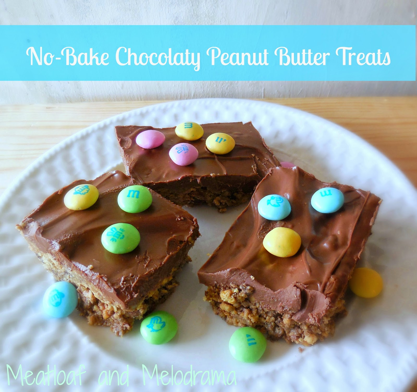 graham crackers and peanut butter bars topped with chocolate and m and m candies