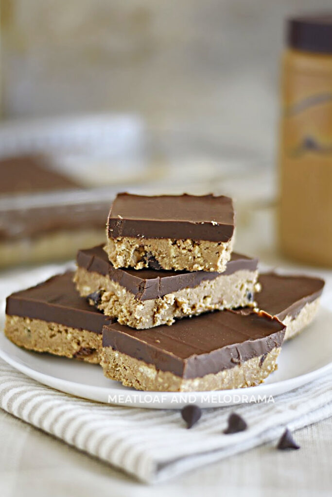stack of no bake peanut butter chocolate chip bars on plate
