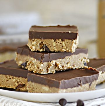 no bake chocolate peanut butter bars stacked on a white plate