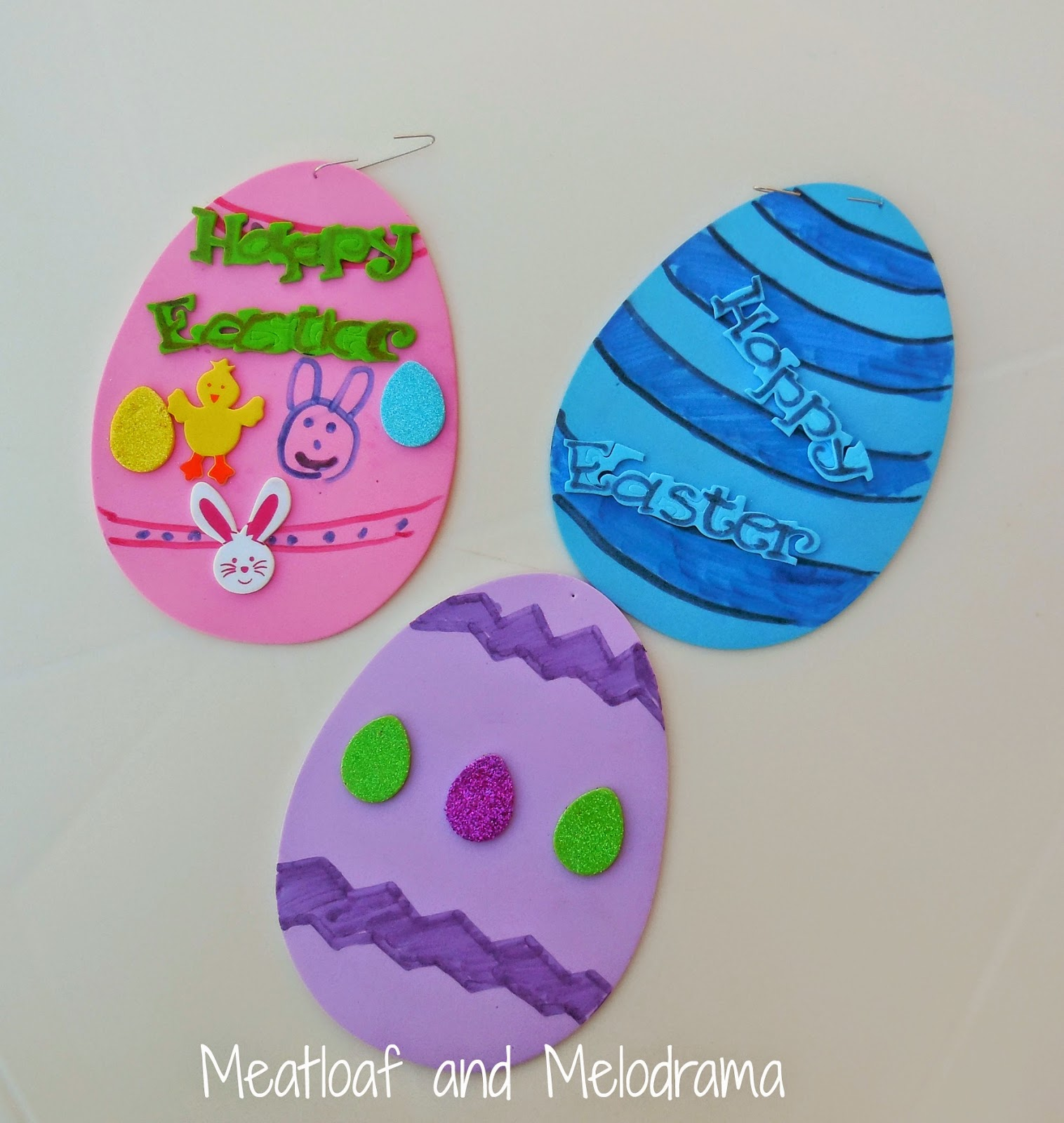 decorated foam Easter eggs