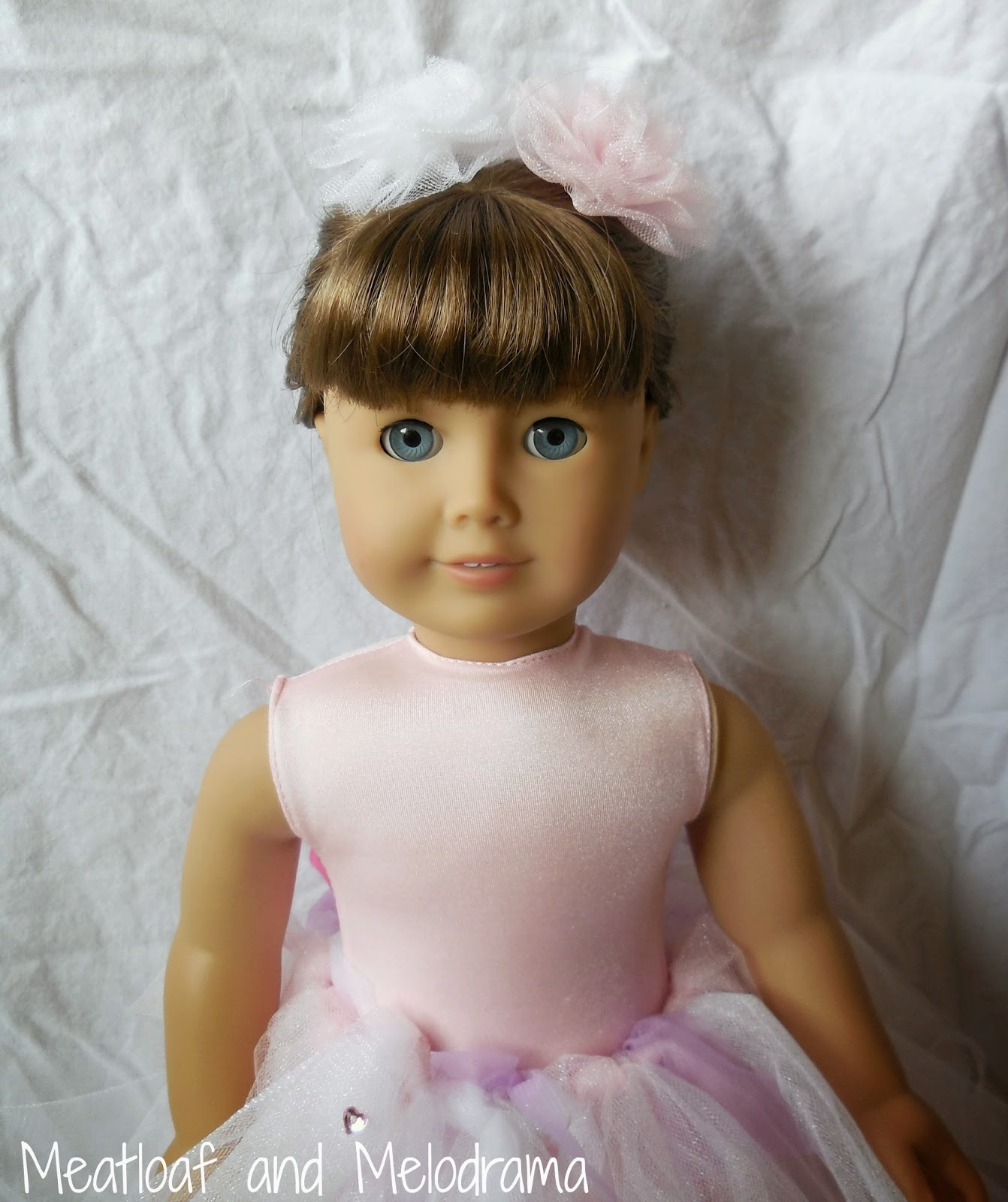 american girl doll with no sew tutu and tulle flowers