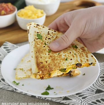 hand holding chicken black bean quesadilla with melty cheese