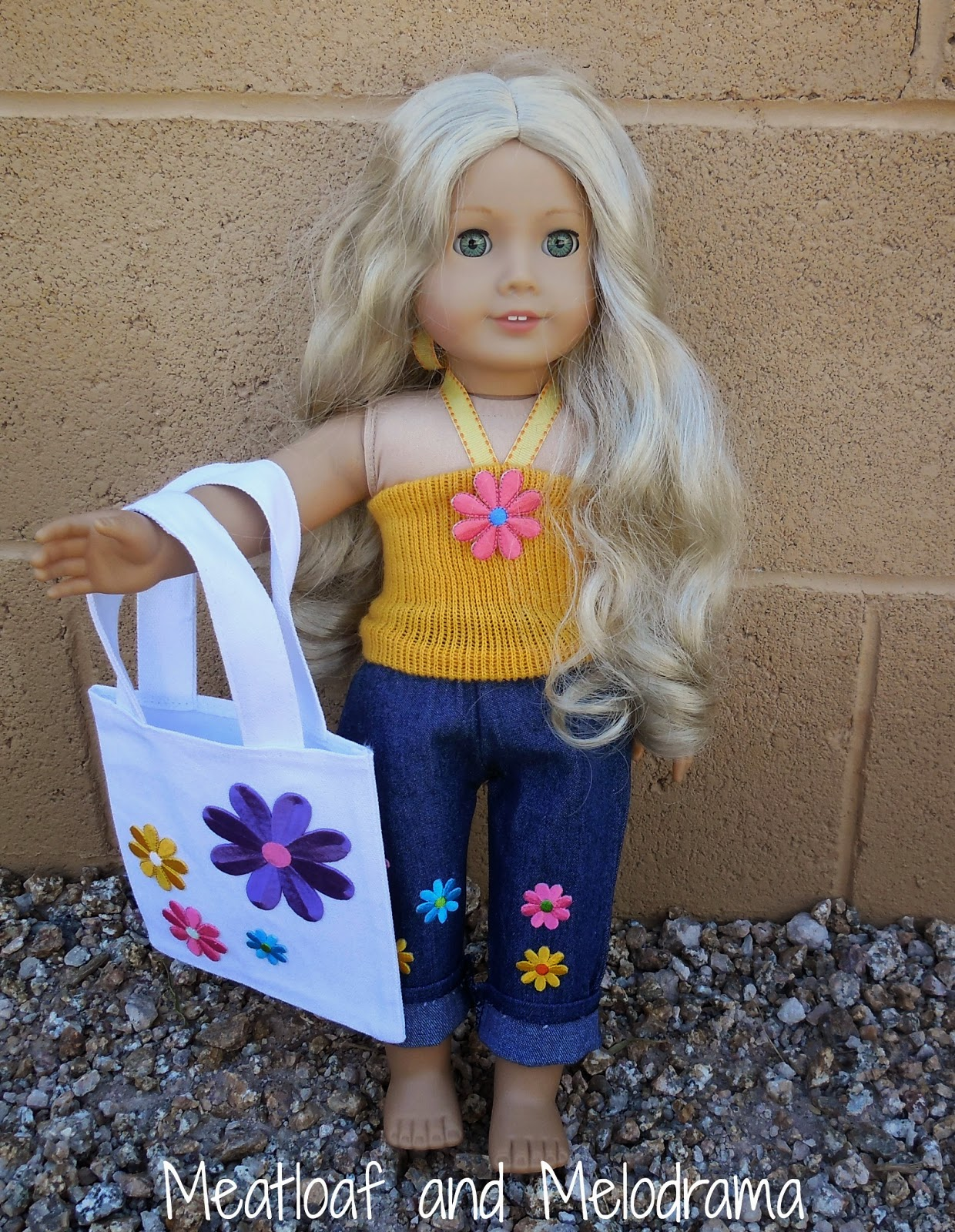 american girl doll with flower tote bag and matching summer outfit