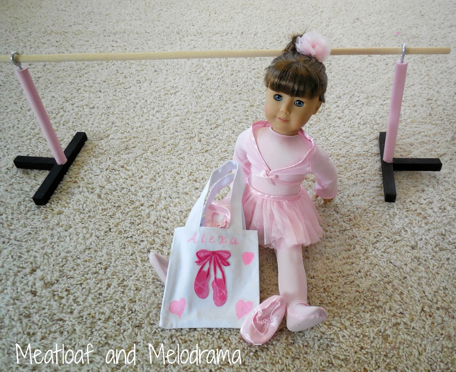 ballerina doll with ballet barre and ballet tote bag