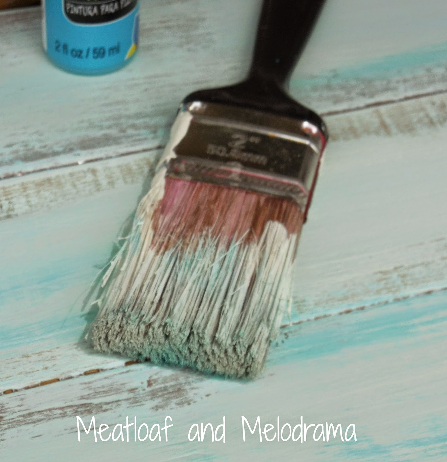 blue and white paint dry brush