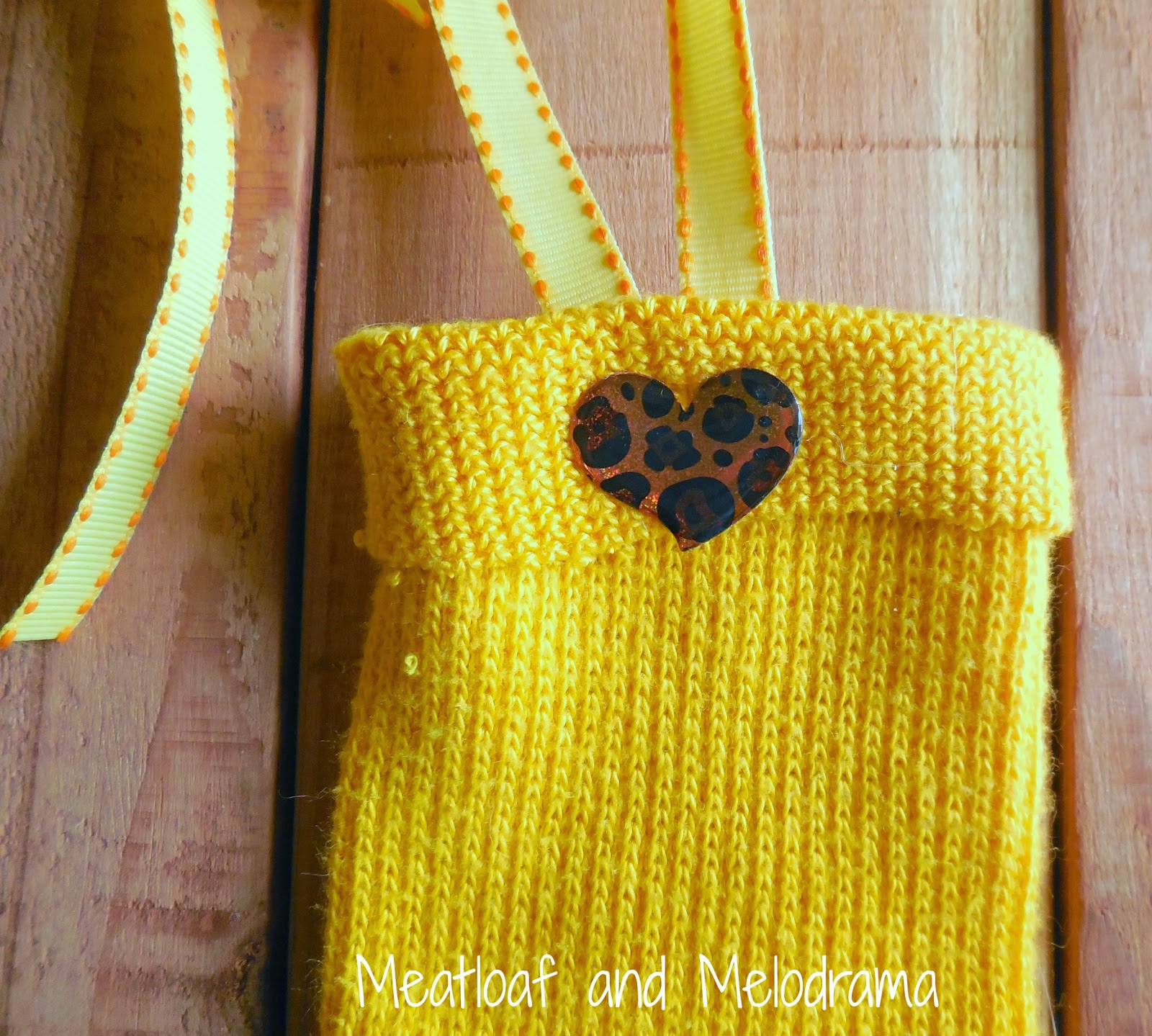 puffy leopard print heart sticker on yellow sock top