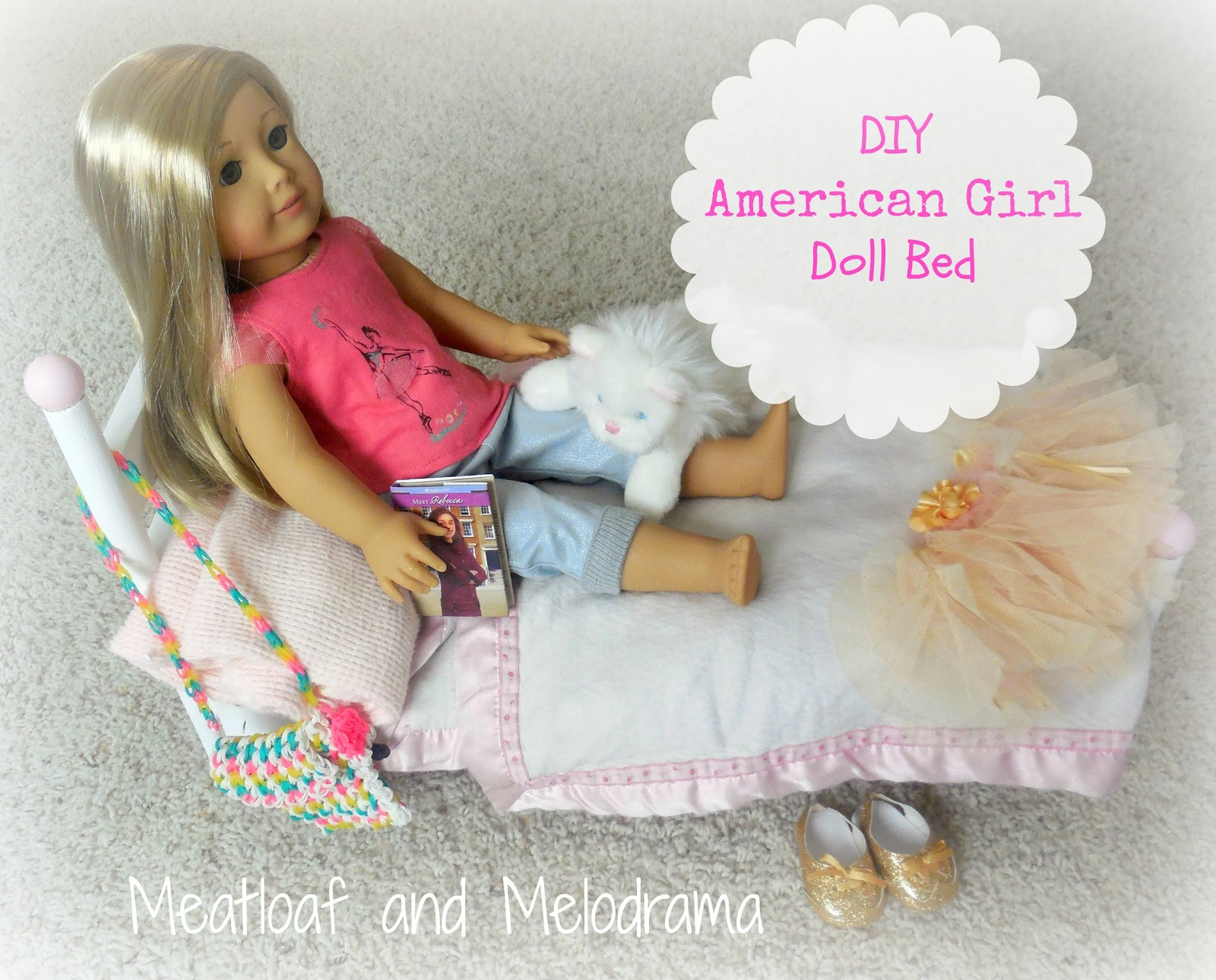 American Girl Doll Isabelle In Handmade Wooden Doll Bed