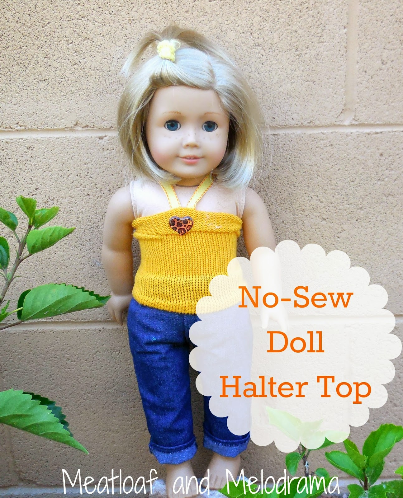 no sew doll halter top made from a yellow sock