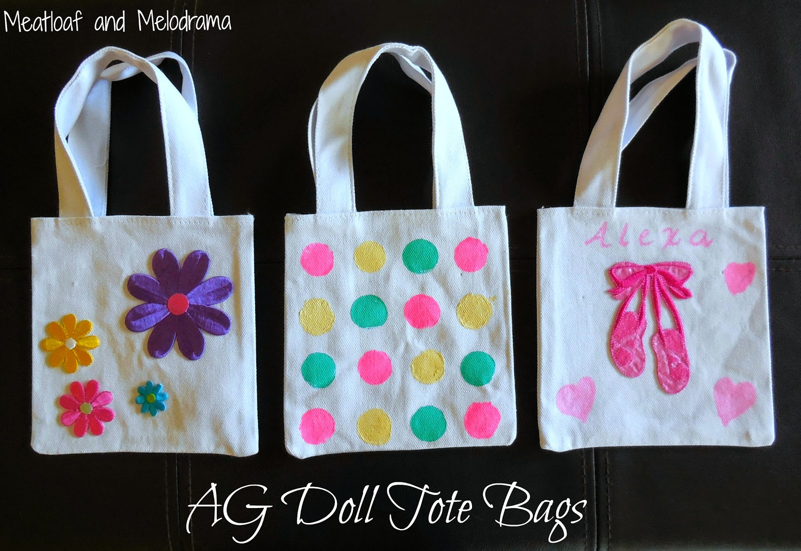 decorated tote bags for 18-inch dolls