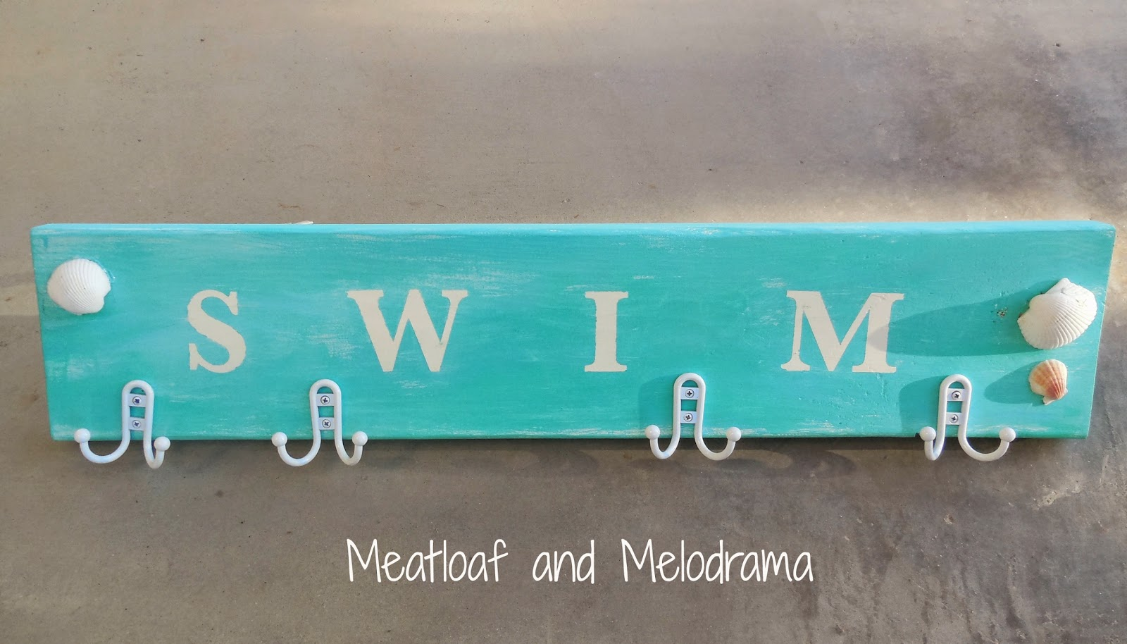 Aqua Swim Sign With Hooks And Seashells