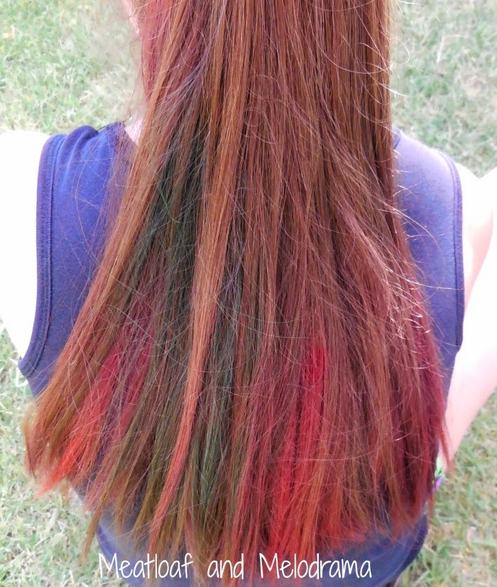 red and blue hair dye made from food coloring on brown hair