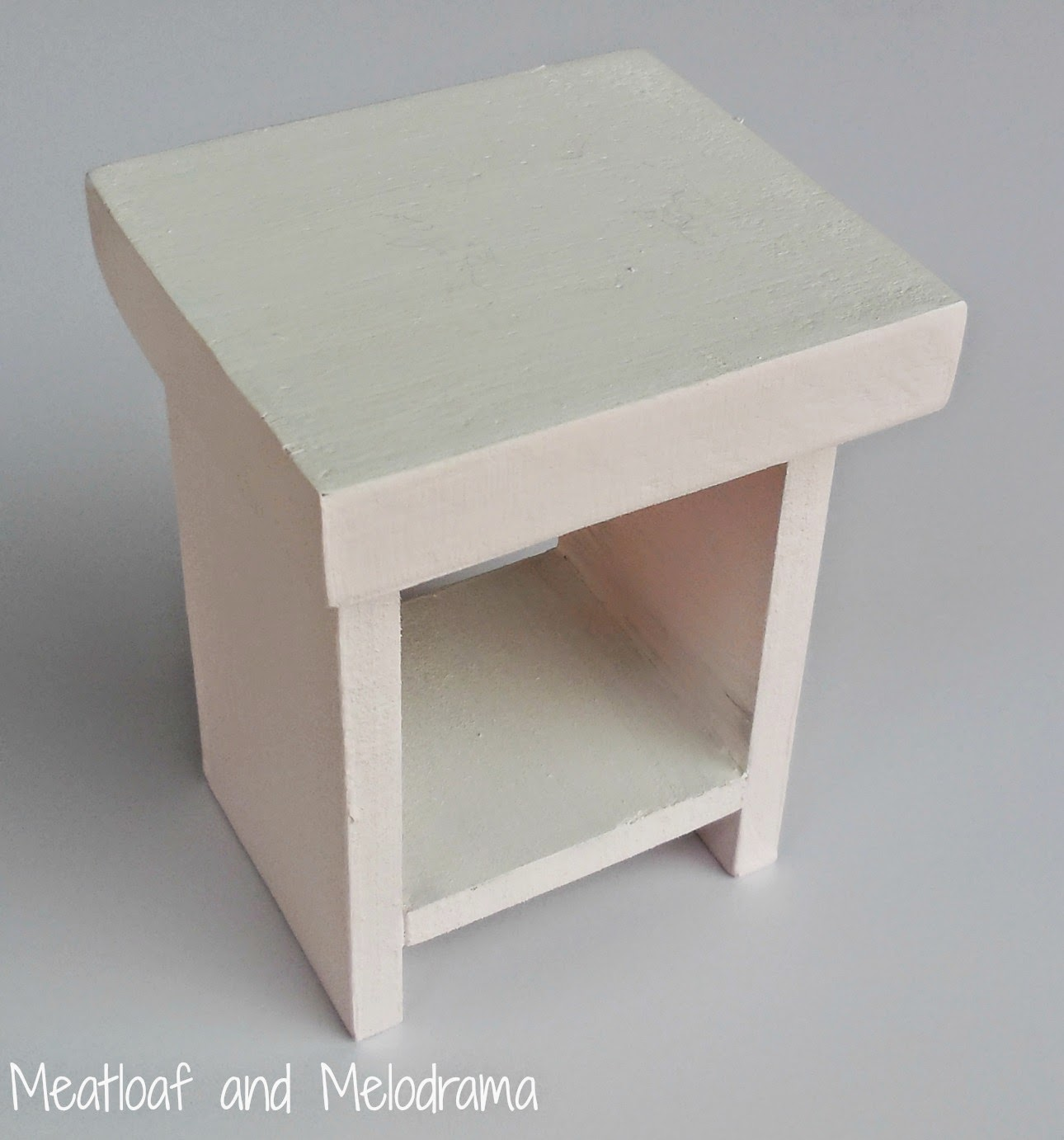 pink and white ag doll wood nightstand