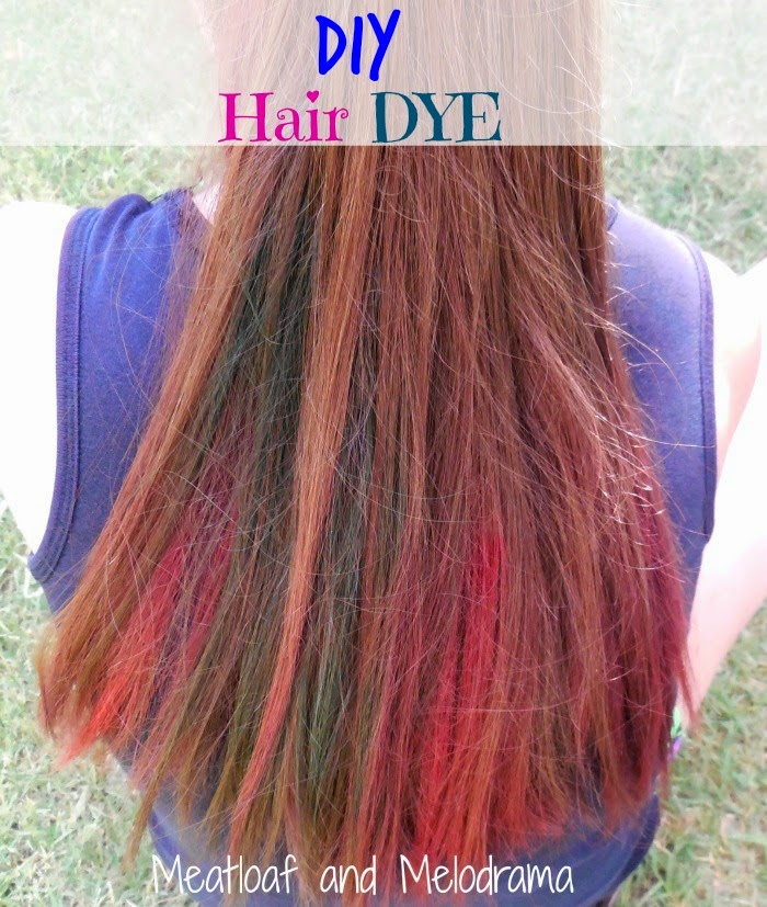 Diy temporary hair dye meatloaf and melodrama brown hair dyed blue and pink with food coloring solutioingenieria Image collections