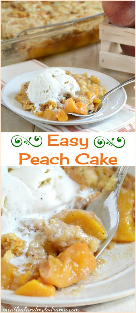 easy peach cake, commonly called peach dump cake