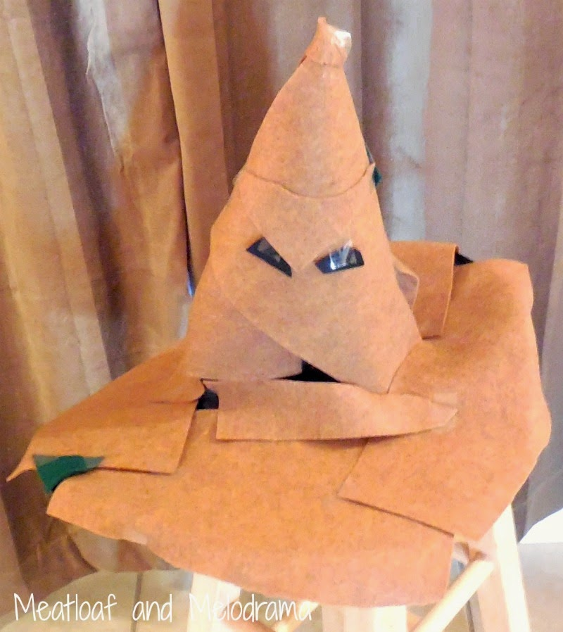 sorting hat made from brown and black felt