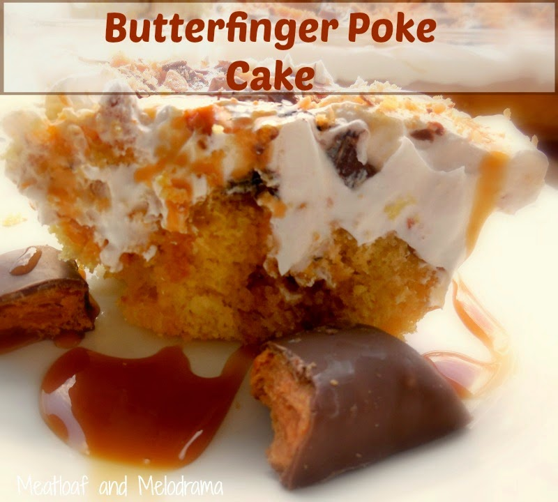 poke cake recipe with caramel syrup and butterfingers on plate