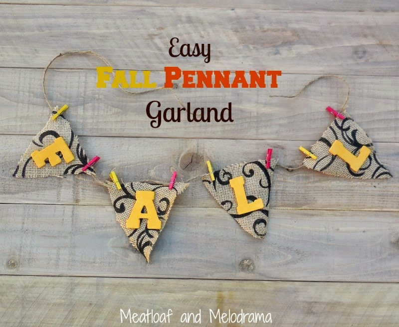 fall pennant garland made from printed burlap, wooden letters, craft clothespins, and twine