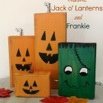 Rustic Wood Jack o' Lanterns and Frankie