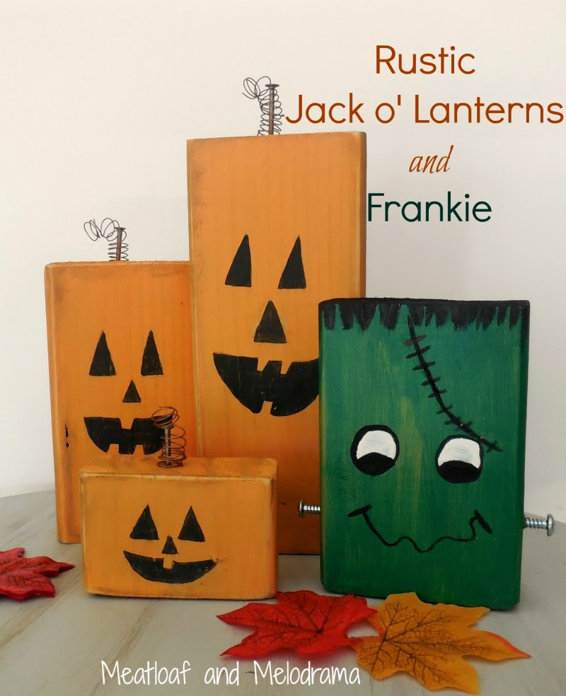rustic pumpkins and frankenstein made out of wood blocks