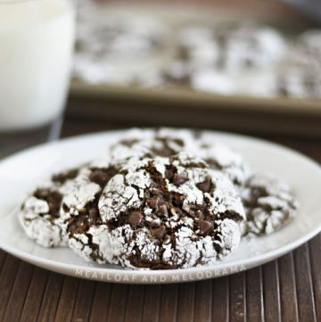 easy chocolate crinkle cookies with powdered sugar on white plate