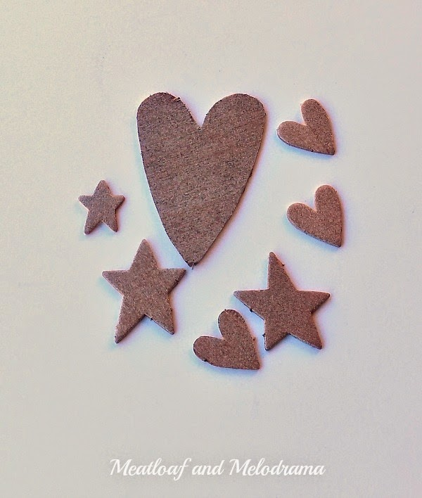 wood hearts and stars spray painted copper metallic color