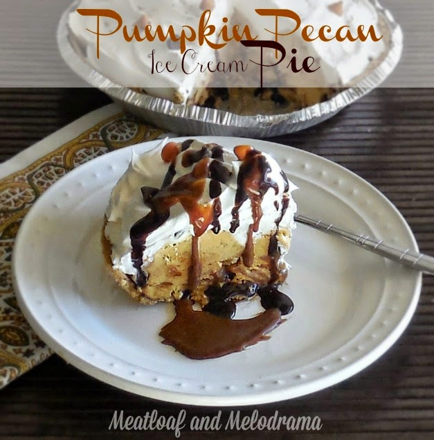 no bake pumpkin pie with ice cream cool whip and chocolate and caramel sauce