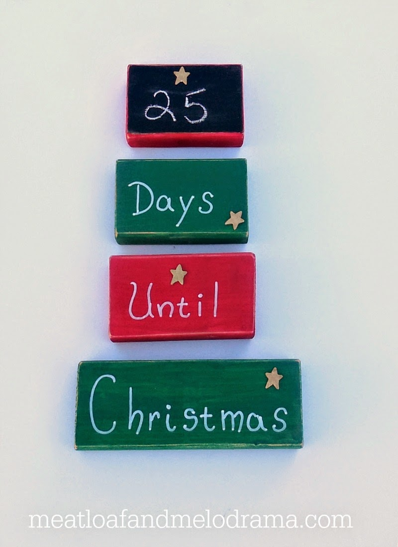 25 days until christmasr on painted wood blocks - How Many More Days Until Christmas 2014