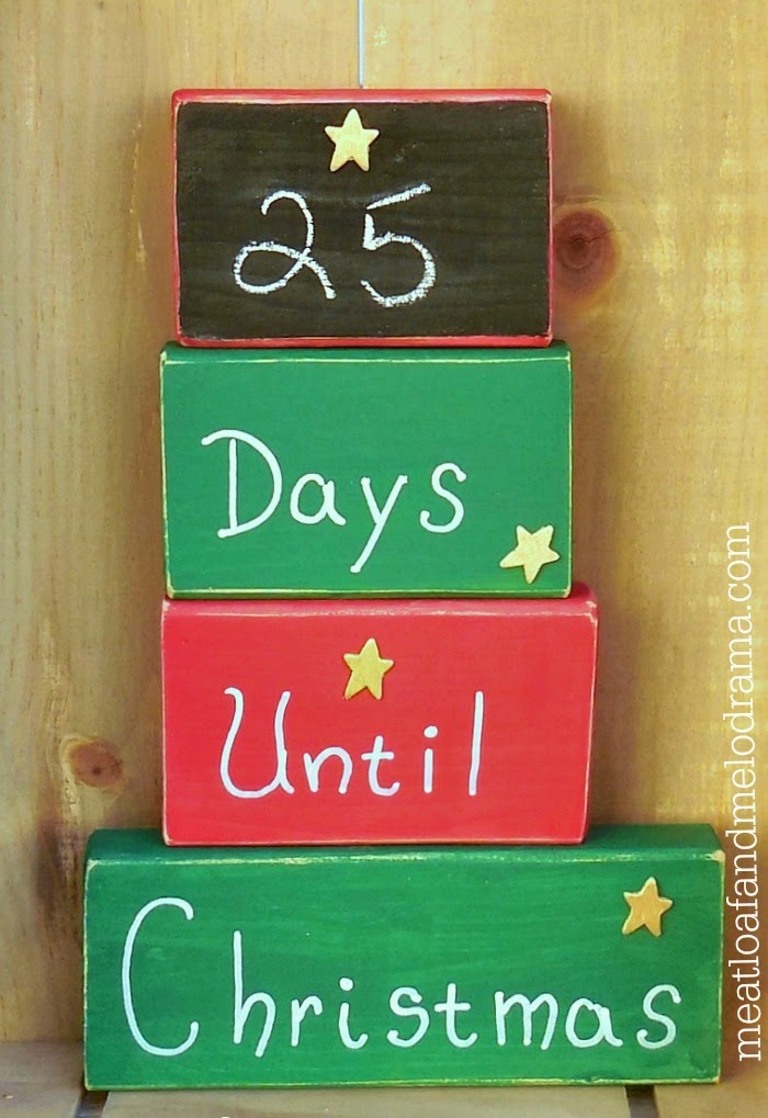 christmas countdown calendar made from 2x4 wood blocks