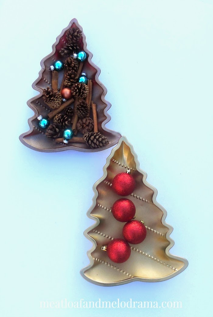 rustic glam gold and copper christmas tree nesting trays with vase filler and ornaments - Dollar Store Christmas Tree