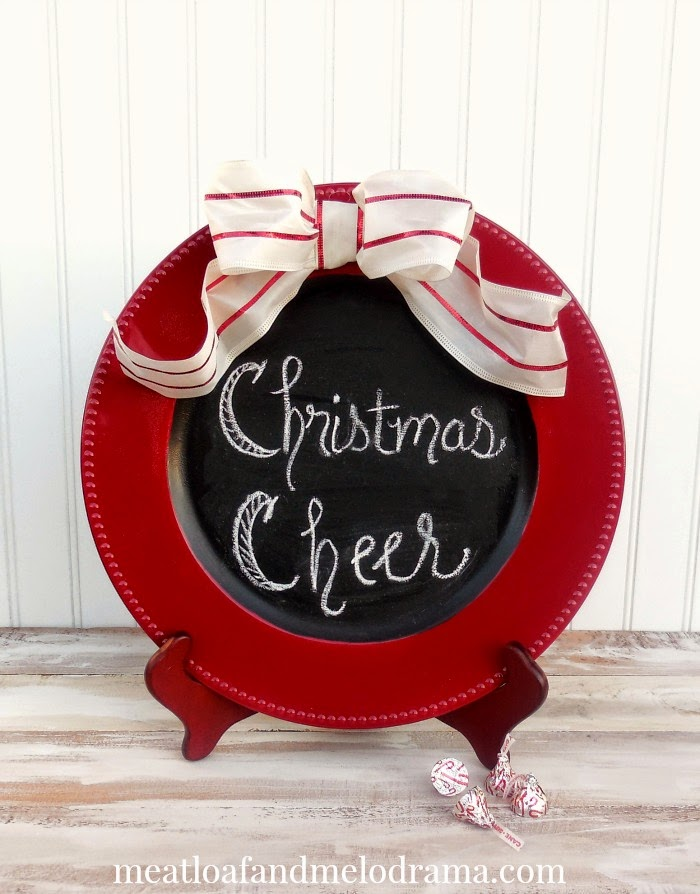 red and black chalkboard plate with christmas cheer and white ribbon